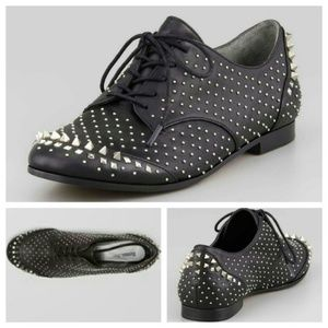 Rachel Roy Black Studded Spiked Oxford Shoes 6